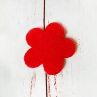 Цветок из фетра, Красный, 1шт.
